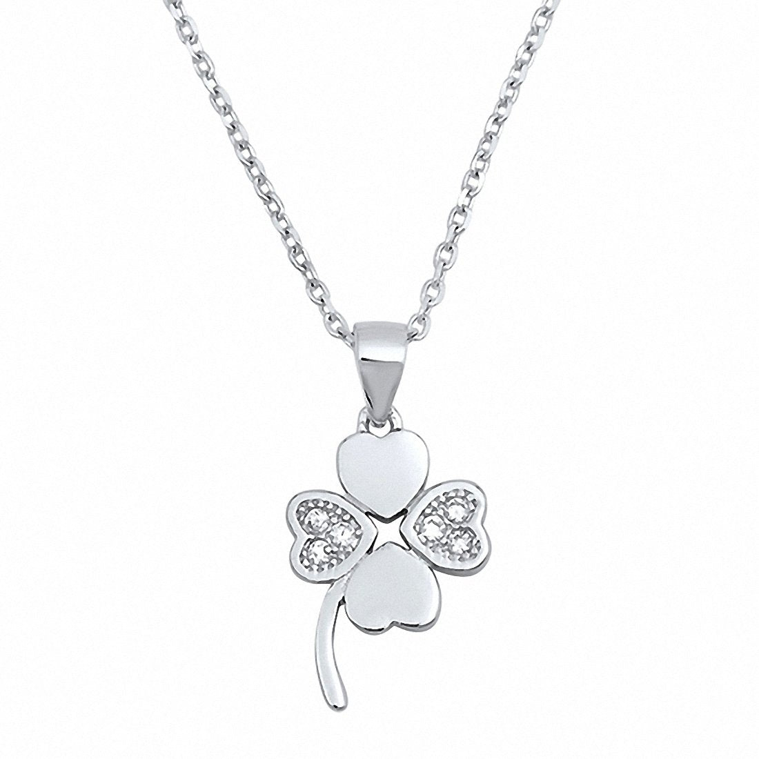 Clover Leaf Necklace Round Simulated Cubic Zirconia 925 Sterling Silver