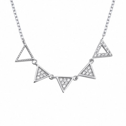 Fashion Triangle Necklace Round Simulated Cubic Zirconia 925 Sterling Silver