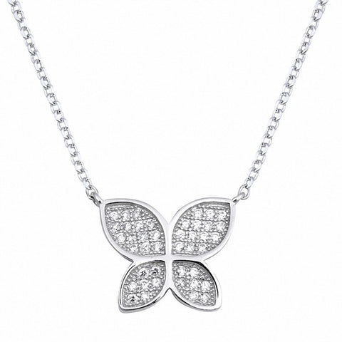 Butterfly Necklace Round Pave Simulated Cubic Zirconia 925 Sterling Silver