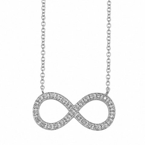 Infinity Necklace Round Simulated Cubic Zirconia 925 Sterling Silver