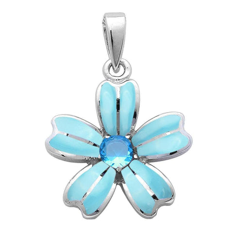 Flower Pendant Created Blue Opal Round Simulated Amethyst 925 Sterling Silver (22mm) Choose Color