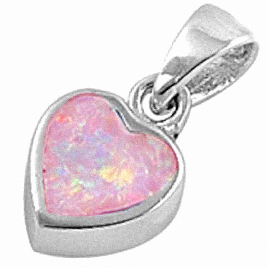 Solitaire Heart Pendant Charm Created Opal 925 Sterling Silver Choose Color