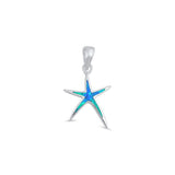 Starfish Pendant Lab Created Opal 925 Sterling Silver Choose Color Starfish Charm - Blue Apple Jewelry