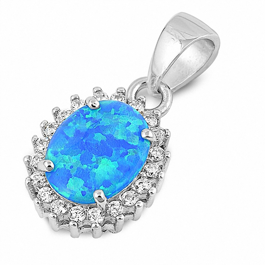 Halo Pendant Oval Created Opal Round Cubic Zirconia 925 Sterling Silver Choose Color