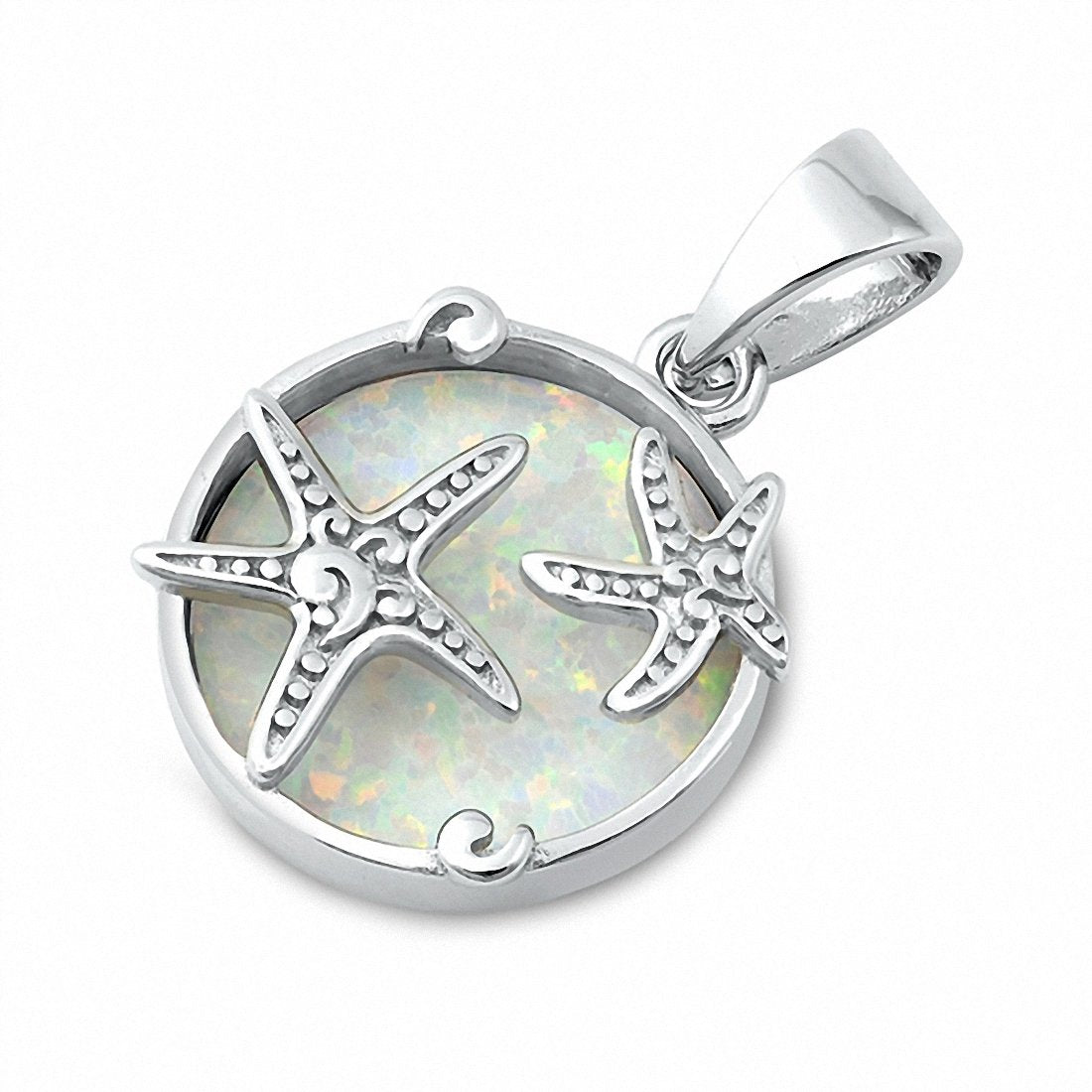 Starfish Pendant Charm Created Opal Solid 925 Sterling Silver Choose Color