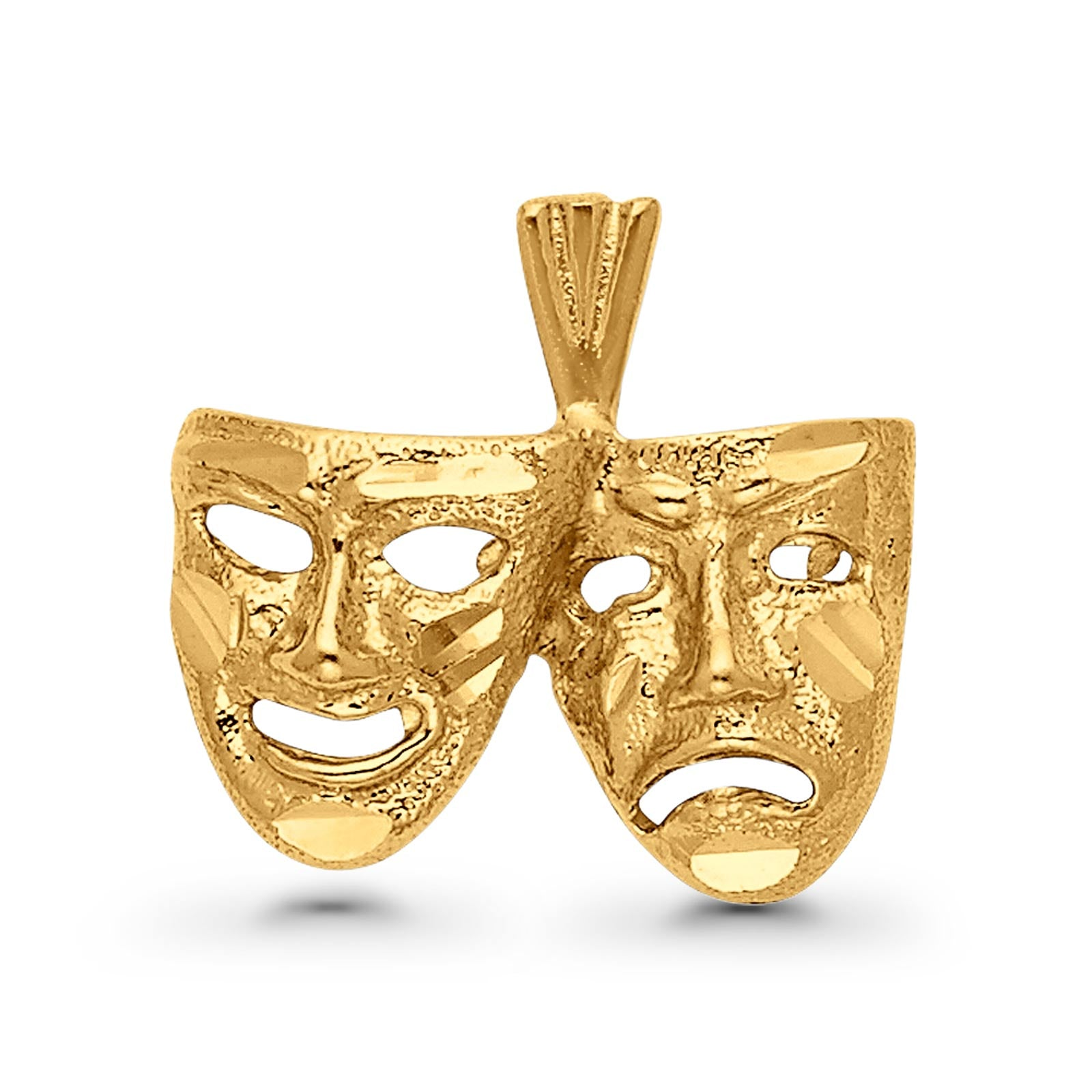 Real 14K Yellow Gold Beautiful Mask Charm Pendant 2.3grams 12mmX18mm