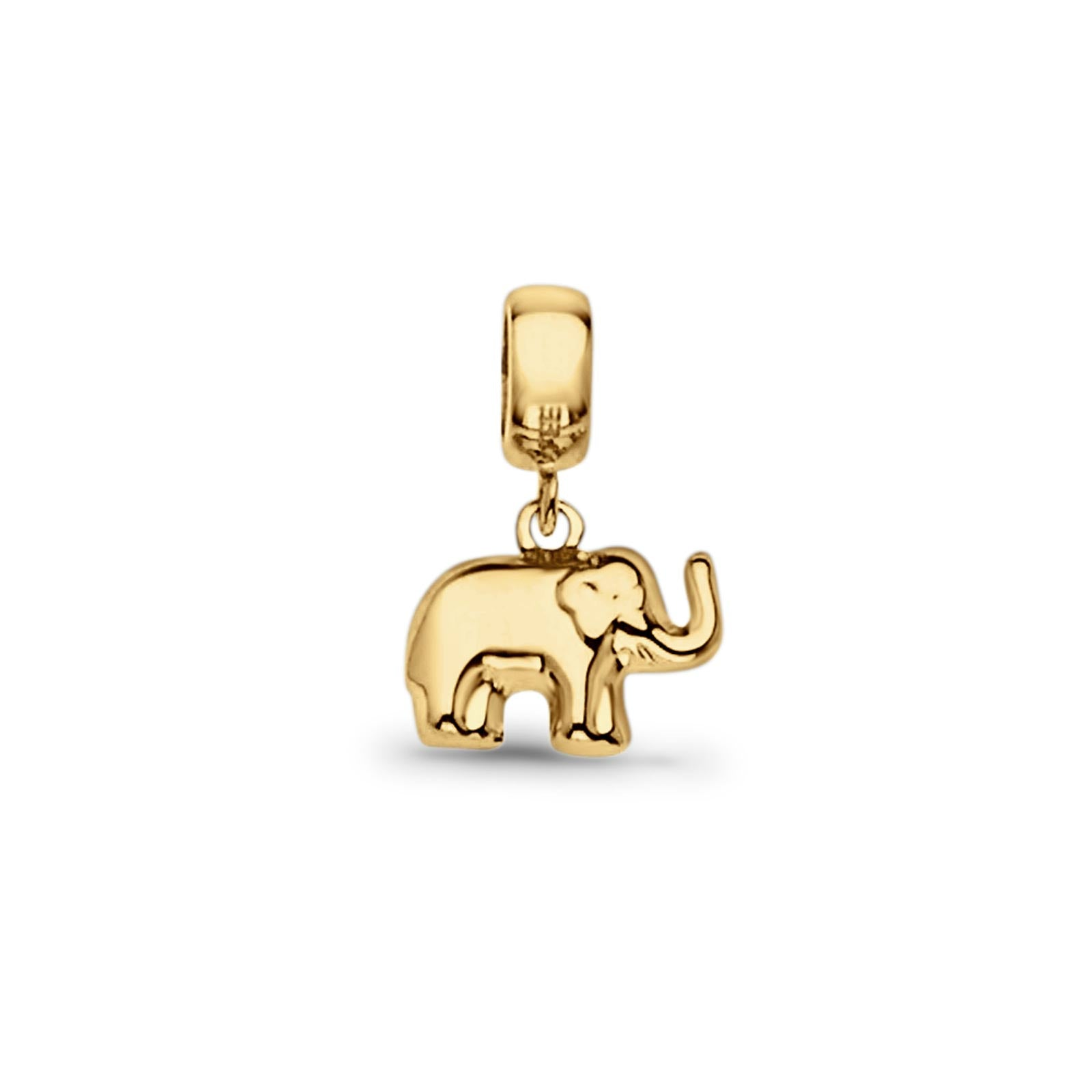 Real Elephant Charm Pendant 14K Yellow Gold 17mmX11mm 1gm