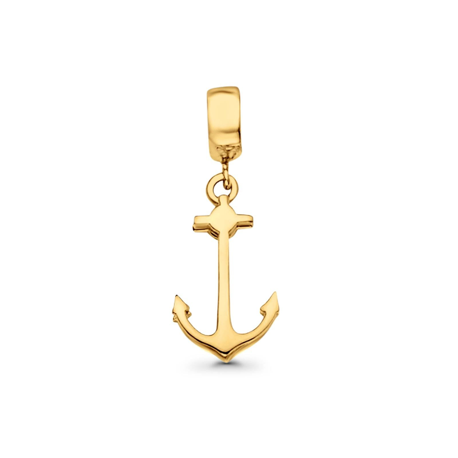 1.1 grams 14K Real Yellow Gold Anchor Charm Pendant 24mmX9mm