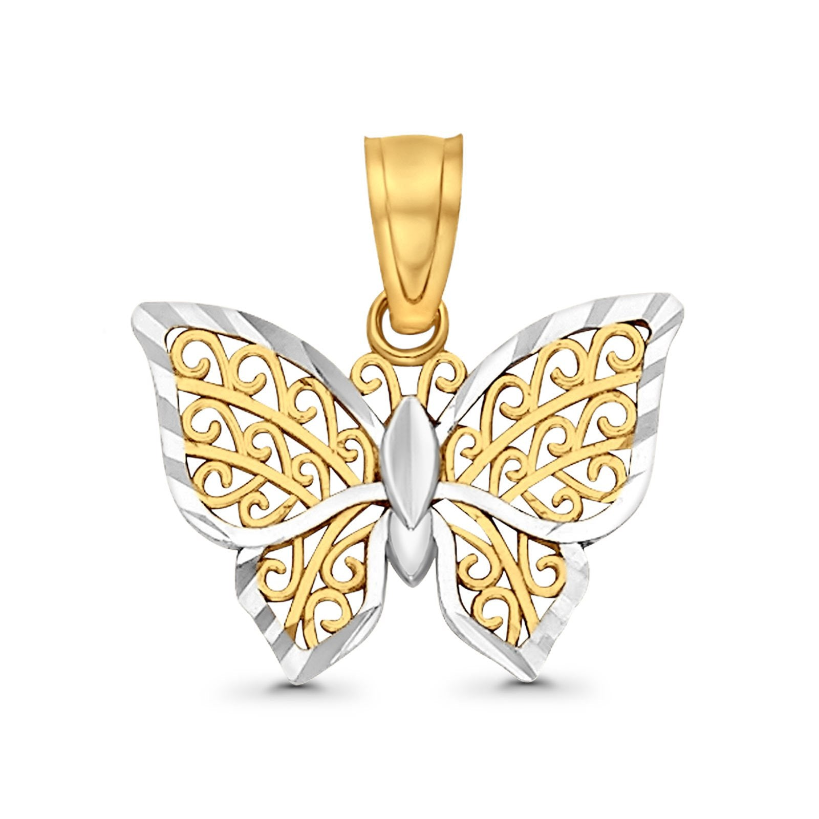 12mmX15mm 14K Real Two Tone Gold Butterfly Charm Pendant 0.6grams