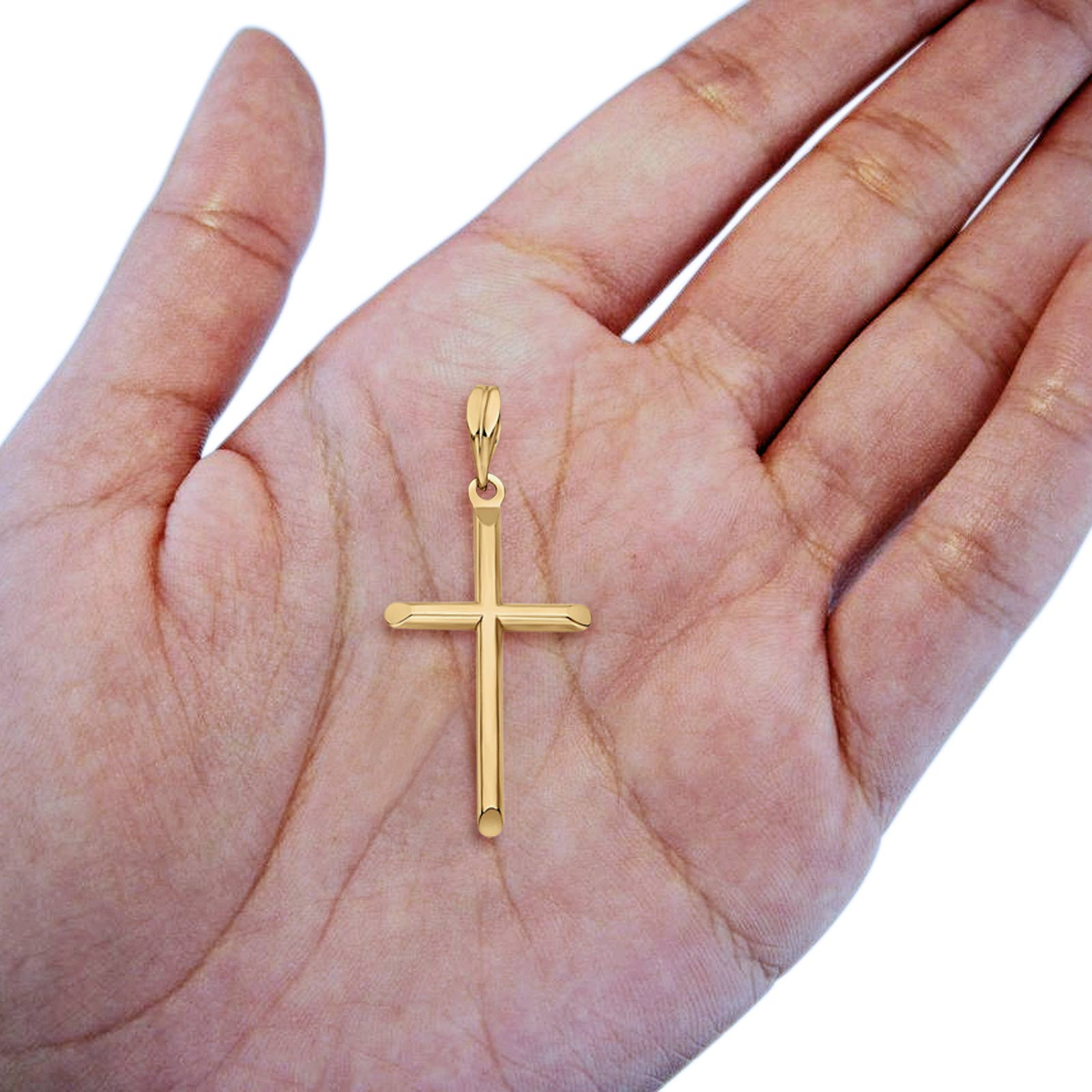 Real Yellow Gold Religious Cross Charm Pendant 14K 27mmX17mm 0.7grams