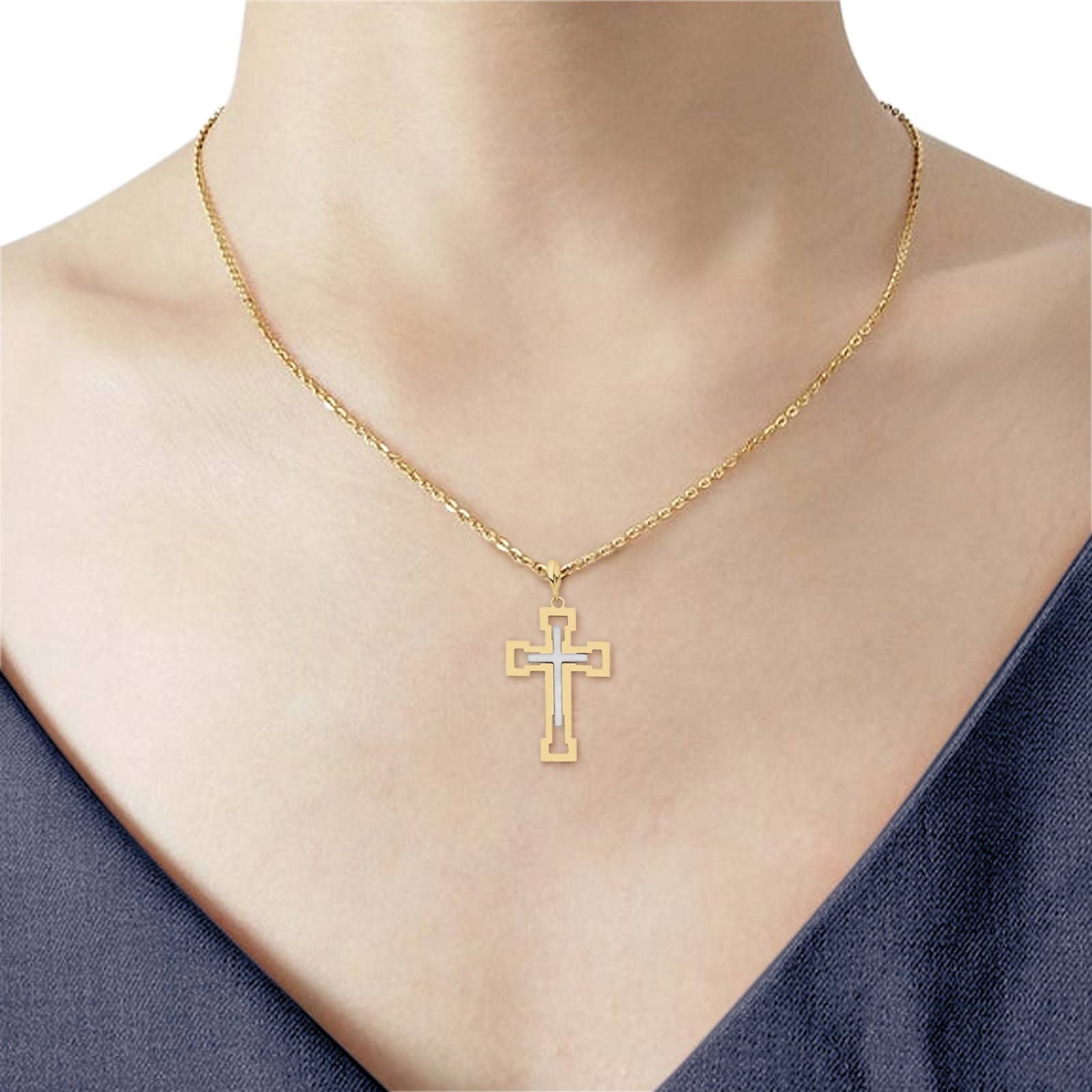 Two Tone 14K Gold Real Religious Crucifix Charm Pendant 31mmX21mm 1.5grams