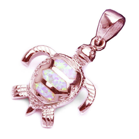 Beachy Turtle Pendant Lab Created Opal 925 Sterling Silver Choose Color