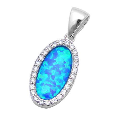 Halo Oval Pendant Lab Created Opal Round Cubic Zirconia 925 Sterling Silver Choose Color - Blue Apple Jewelry