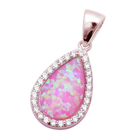 Teardrop Pendant Charm Pear Created Opal Halo Round CZ 925 Sterling silver Choose Color