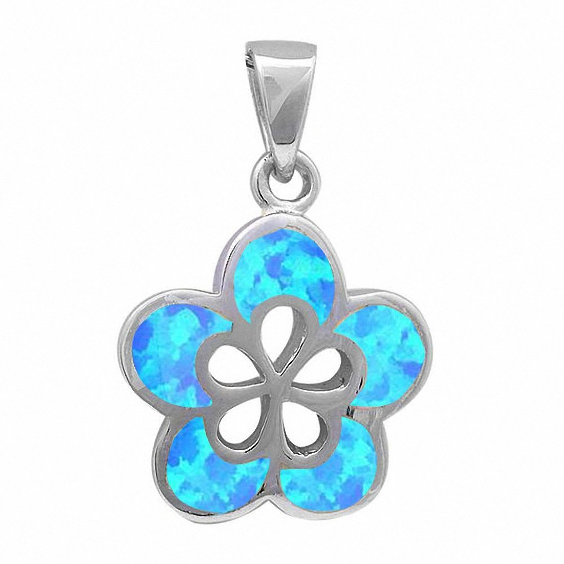 Plumeria Flower Pendant Created Opal 925 Sterling Silver Choose Color