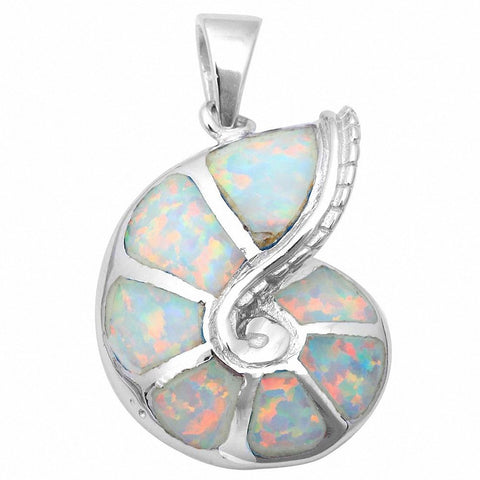 Snail Pendant Created Opal 925 Sterling Silver Choose Color