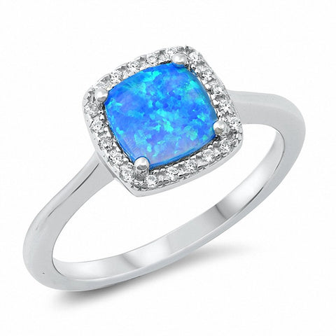 Halo Engagement Ring Princess Cut Square Created Opal Solid 925 Sterling Silver Choose Color