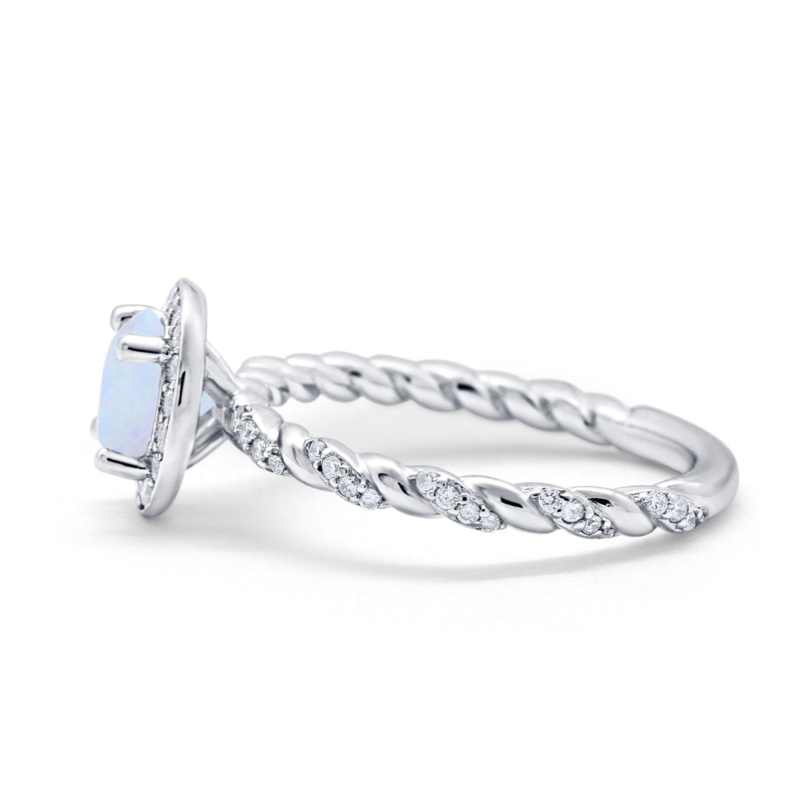 Halo Twisted Wedding Ring Simulated Cubic Zircnoia 925 Sterling Silver
