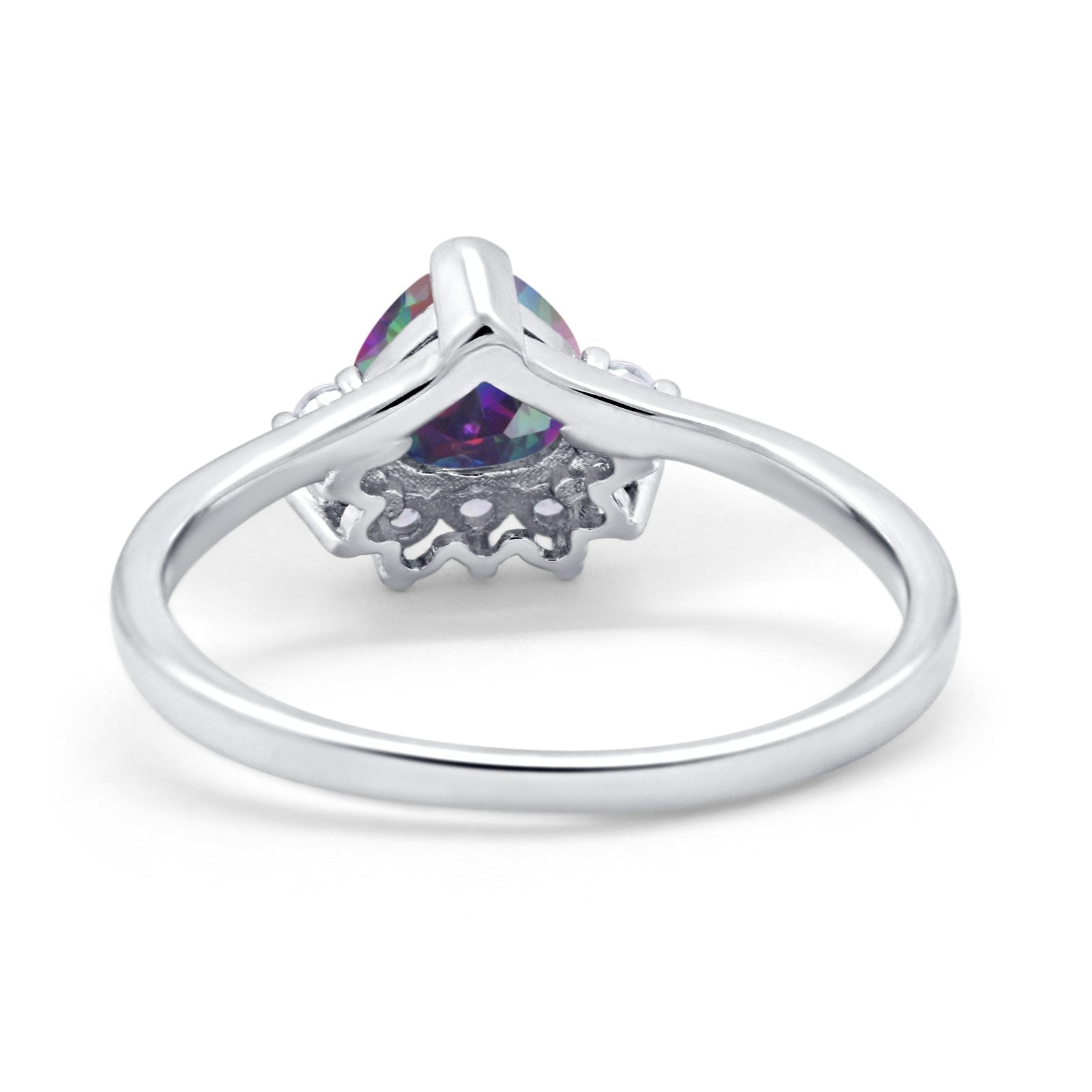 Heart Promise Ring Wedding Ring Simulated Cubic Zirconia 925 Sterling Silver