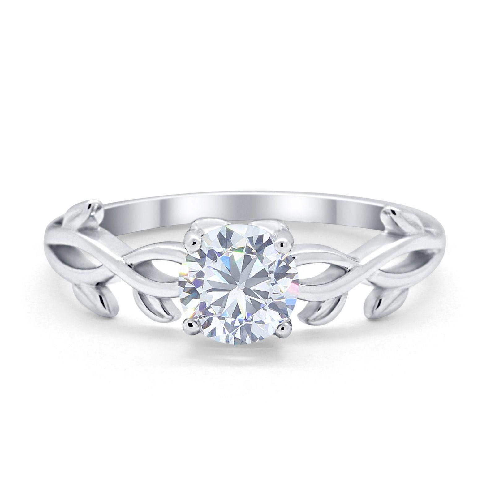 Solitaire Wedding Ring Round Simulated Cubic Zirconia 925 Sterling Silver