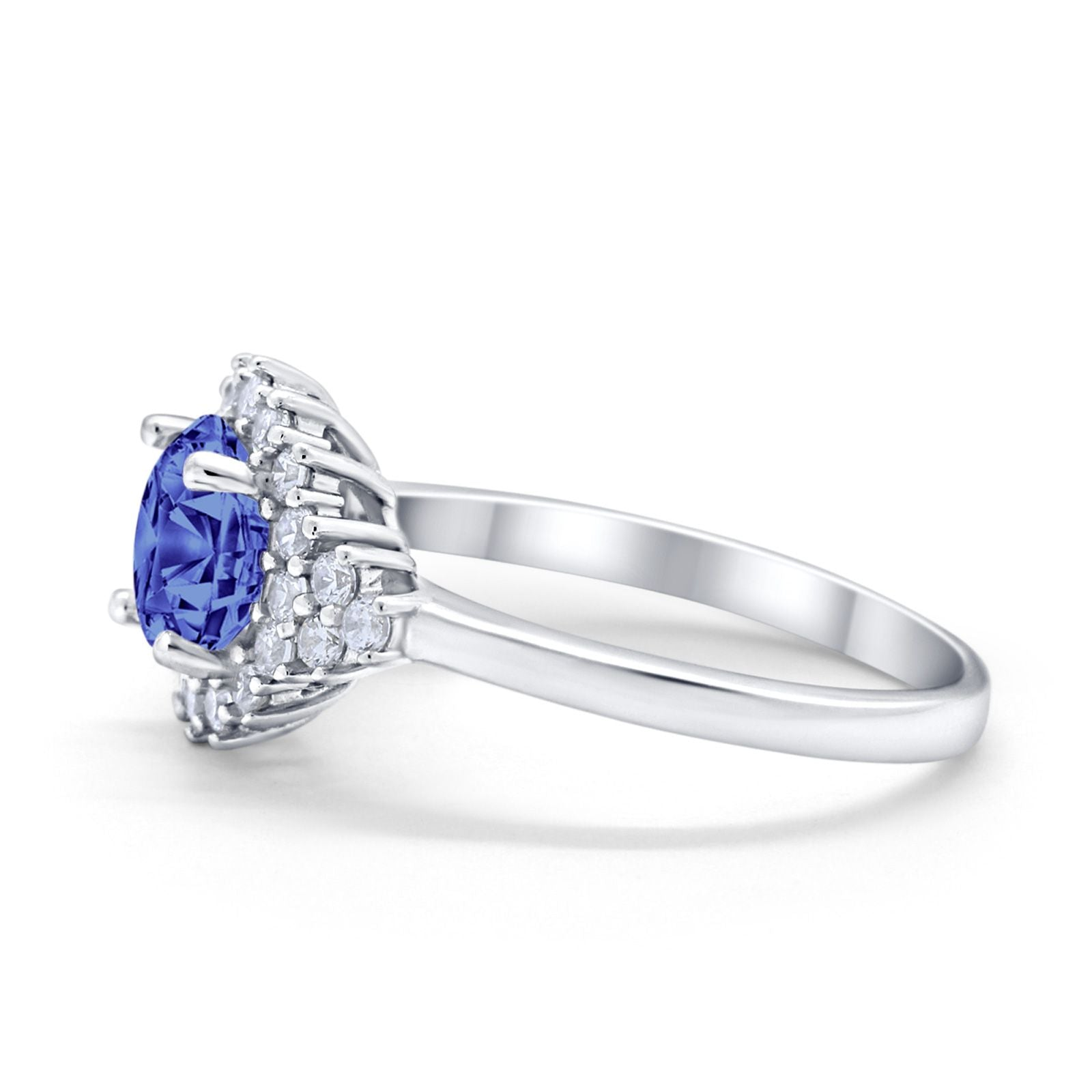 Halo Vintage Style Wedding Ring Round Simulated Cubic Zirconia 925 Sterling Silver