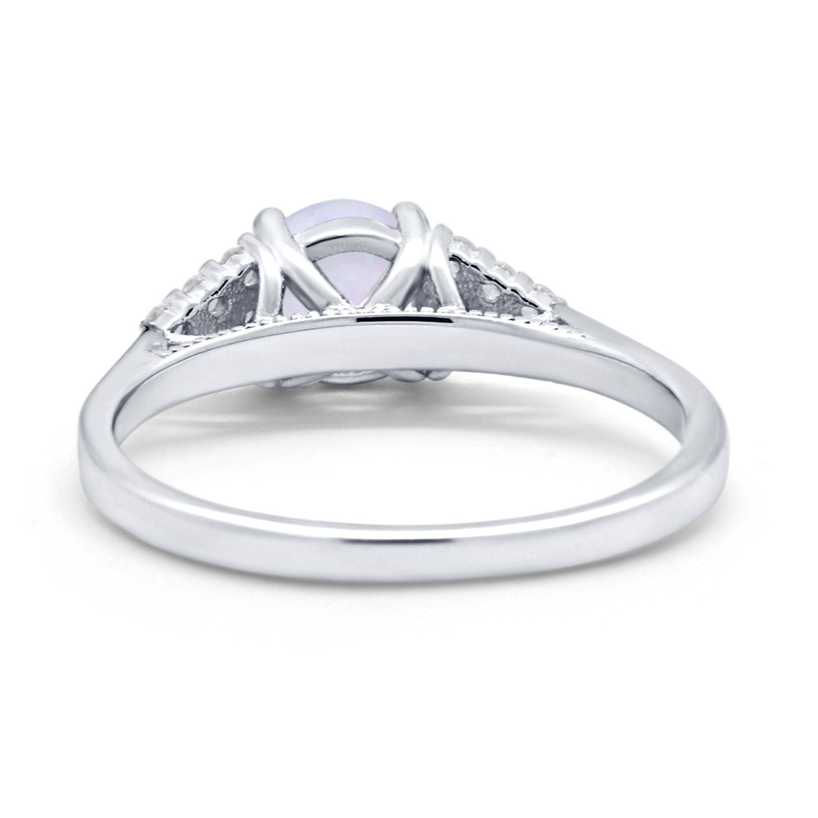 Wedding Ring Bridal Simulated Round Cubic Zirconia 925 Sterling Silver