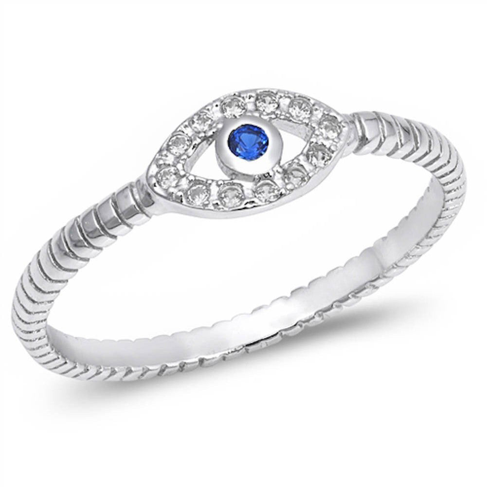 Blue Evil Eye Ring Round Simulated Blue Sapphire Round CZ 925 Sterling Silver - Blue Apple Jewelry