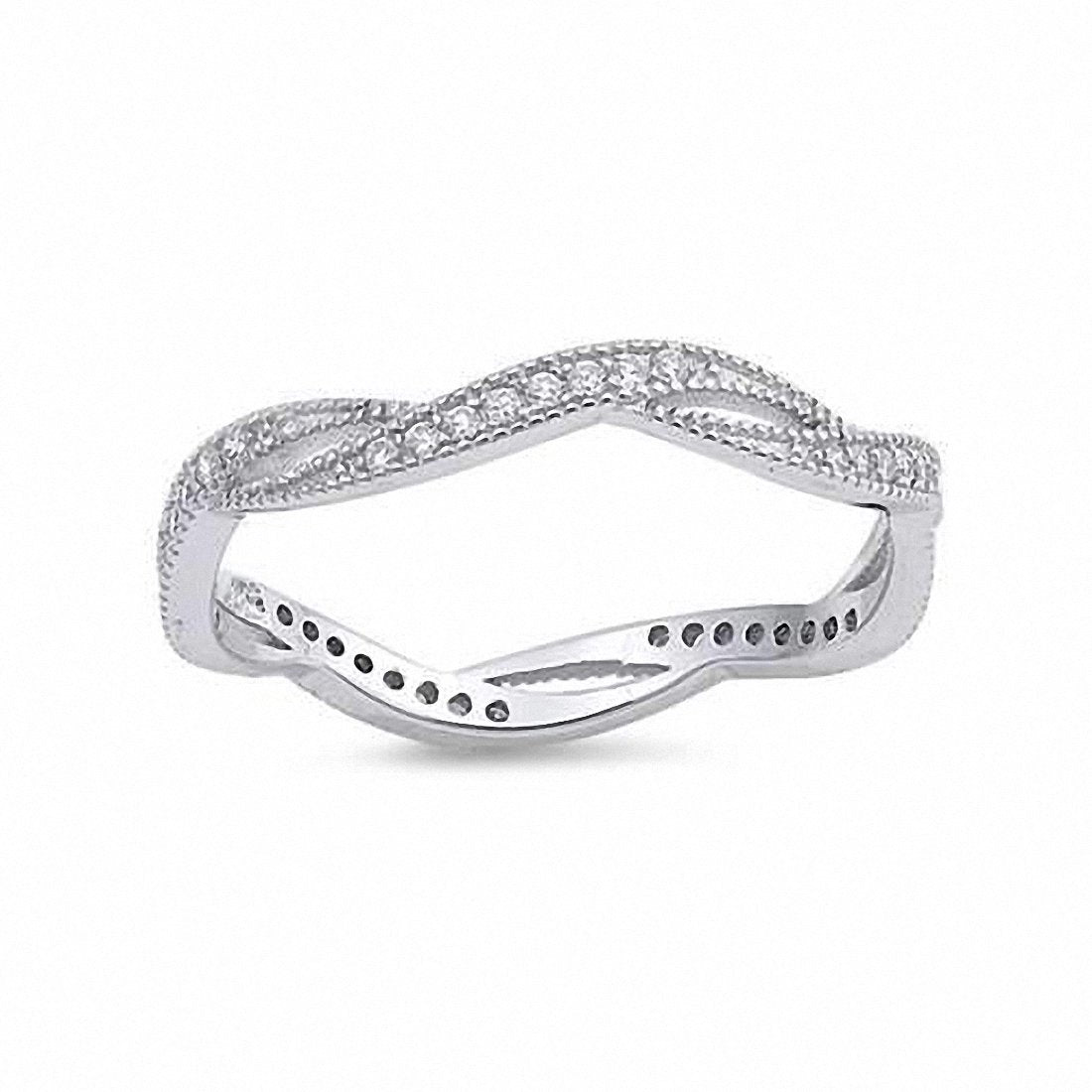 Twisted Braided Full Eternity Infinity Design Band Cubic Zirconia 925 Sterling Silver Choose Color
