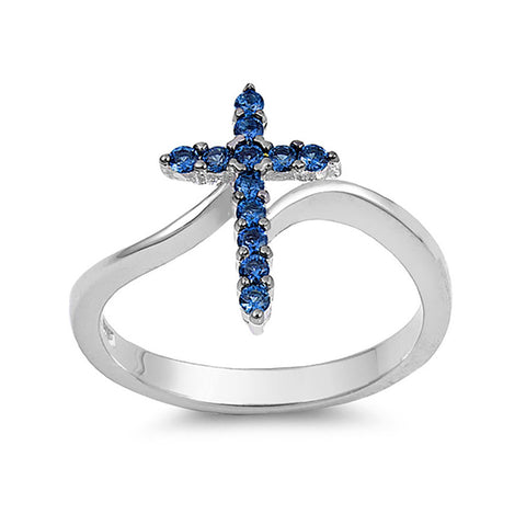 Cross Ring 925 Sterling Silver Round CZ Choose Color - Blue Apple Jewelry