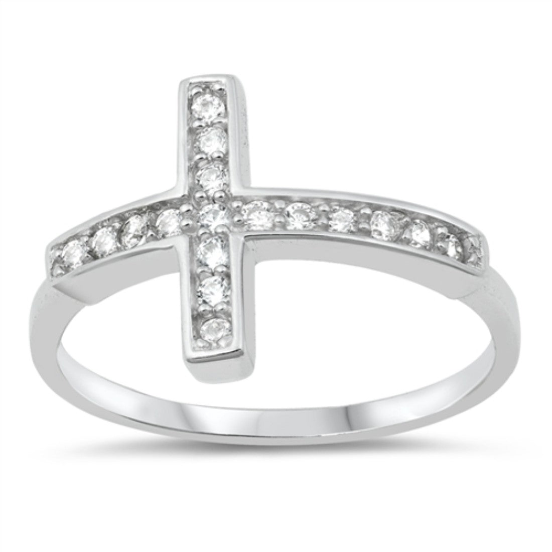 Cross Ring Simulated Cubic Zirconia .925 Sterling Silver (18 mm)