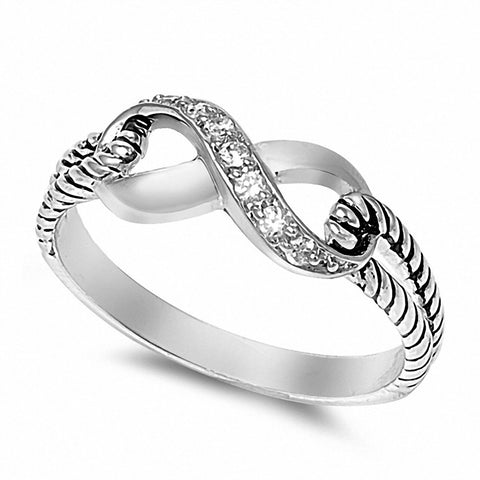Cable Twisted Braided Design Split Shank Infinity Ring 925 Sterling Silver Choose Color