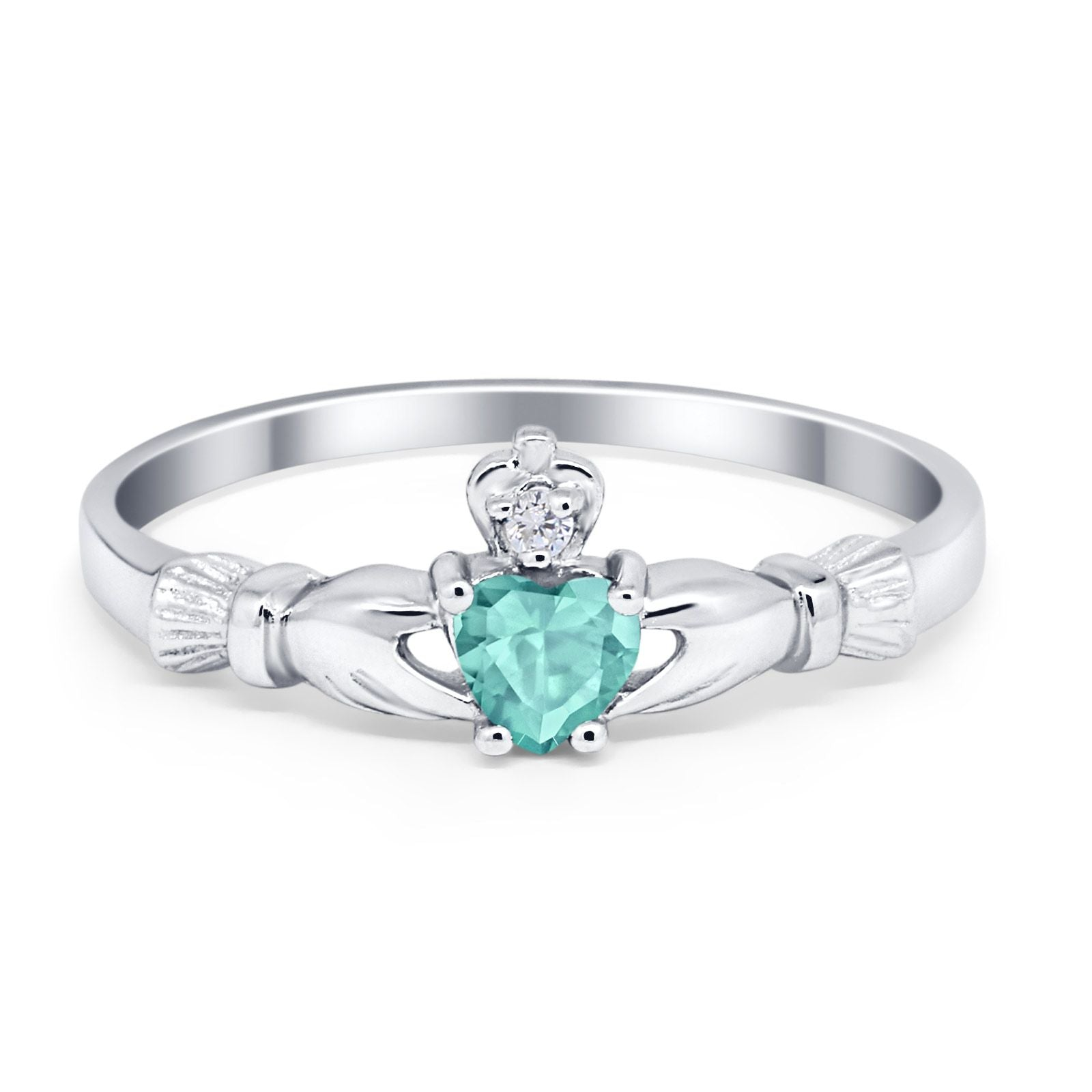 Claddagh Heart Promise Ring Simulated Cubic Zirconia 925 Sterling Silver