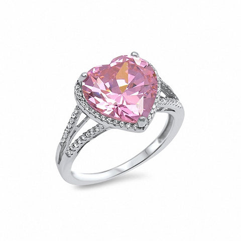 Halo Heart Ring Split Shank Cubic Zirconia 925 Sterling Silver Choose Color