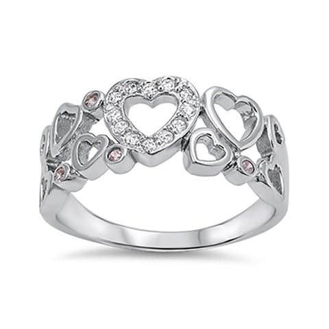 Heart Ring Round Pink White Cubic Zirconia 925 Sterling Silver Choose Color