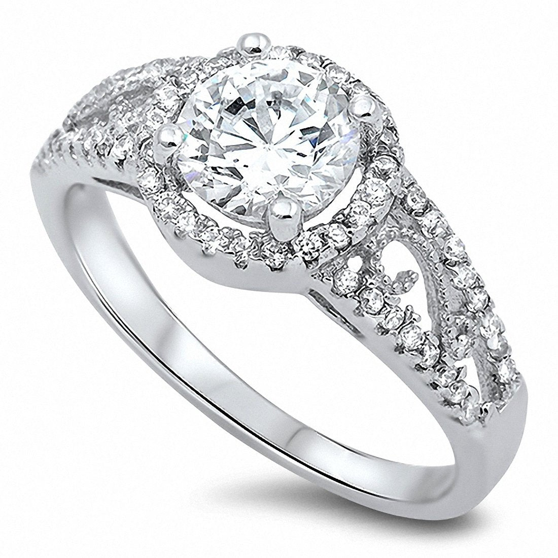 Filigree Engagement Ring Round Cubic Zirconia 925 Sterling Silver Choose Color