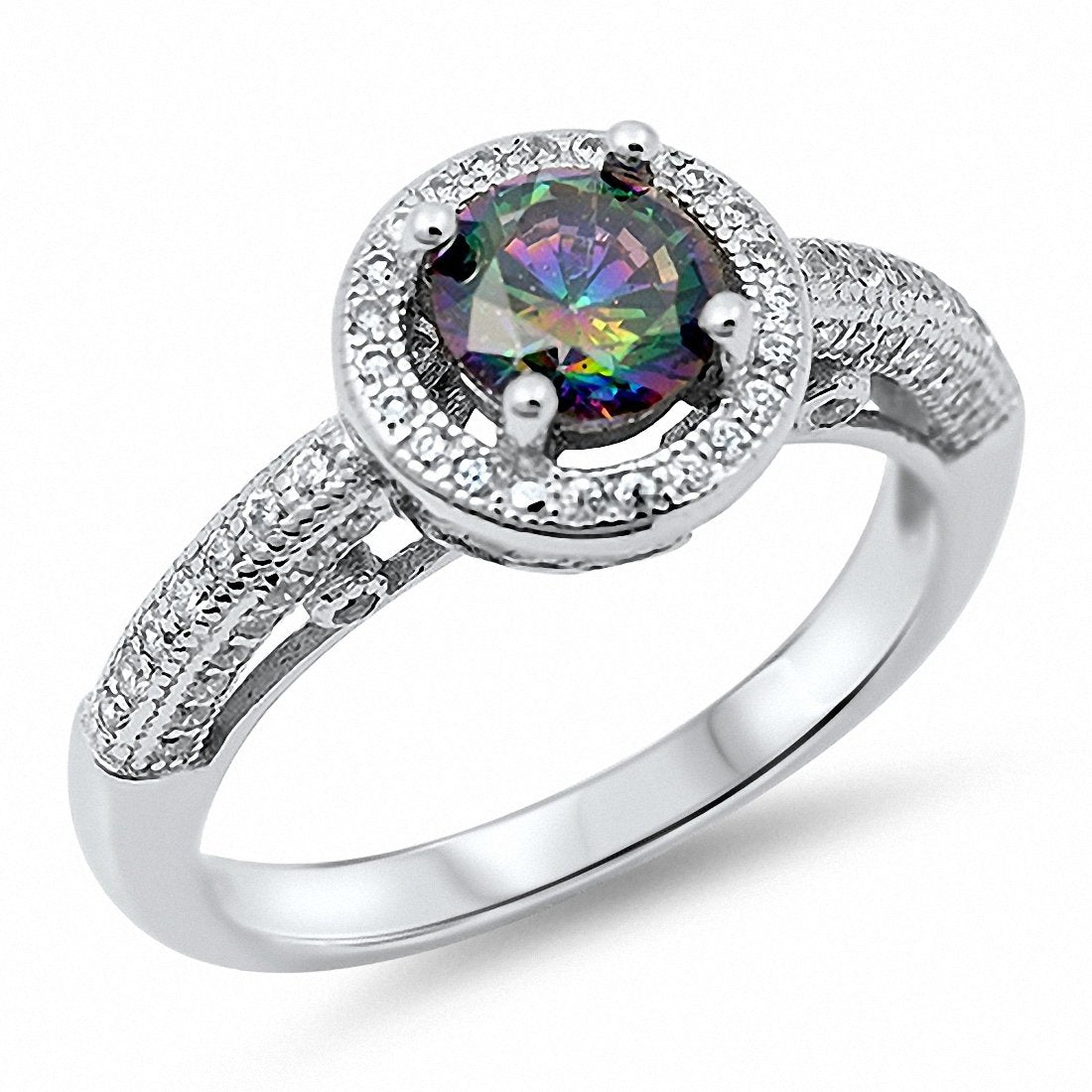 Halo Engagement Ring Round Simulated Stone 925 Sterling Silver Choose Color