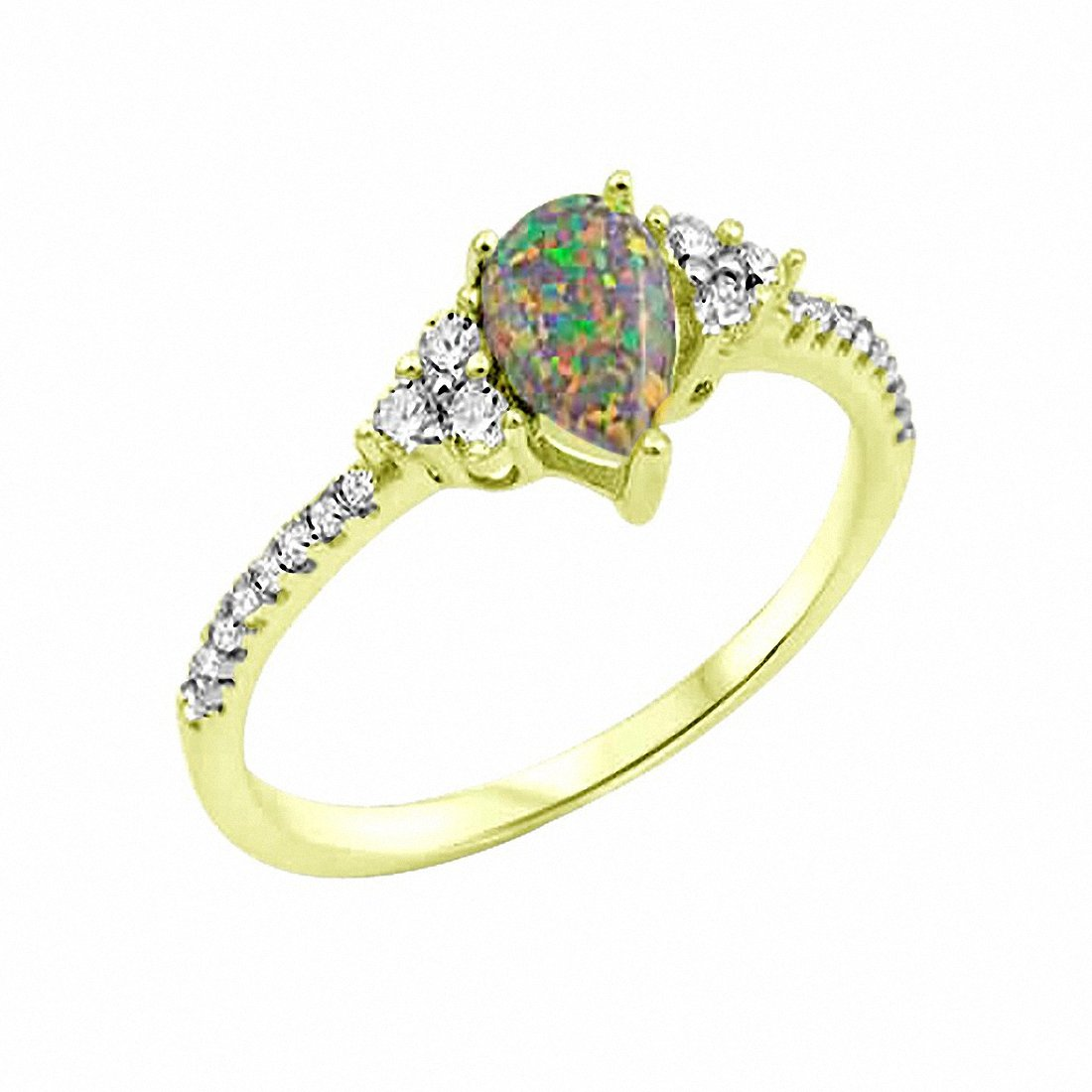 Teardrop Engagement Ring Pear Lab Opal  925 Sterling Silver Choose Color