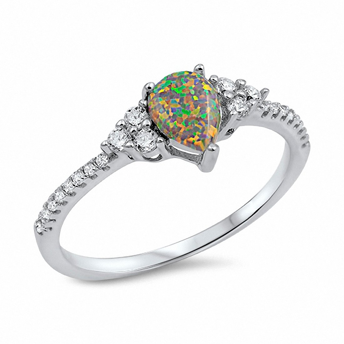 acd9977ab3c79 Teardrop Engagement Ring Pear Lab Created Blue Opal Round CZ 925 Sterling  Silver Choose Color