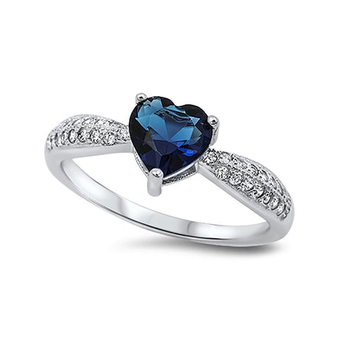 Heart Promise Ring 925 Sterling Silver Round CZ Choose Color - Blue Apple Jewelry