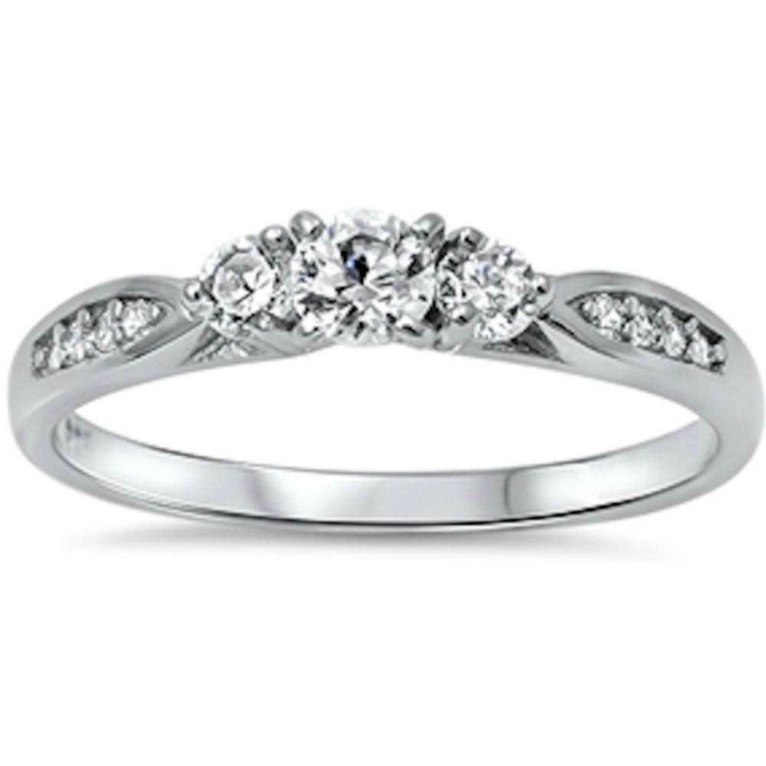3-Stone Engagement Promise Ring Simulated CZ 925 Sterling Silver (4mm)