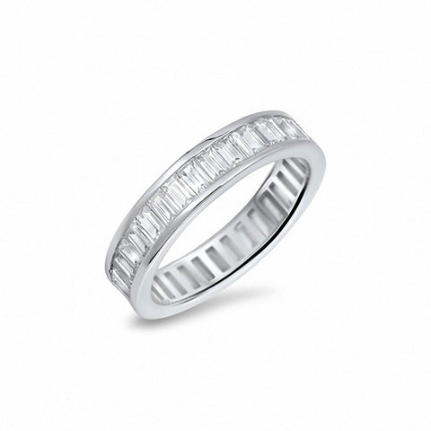5mm Full Eternity Baguette Cubic Zirconia Band Ring 925 Sterling Silver Choose Color
