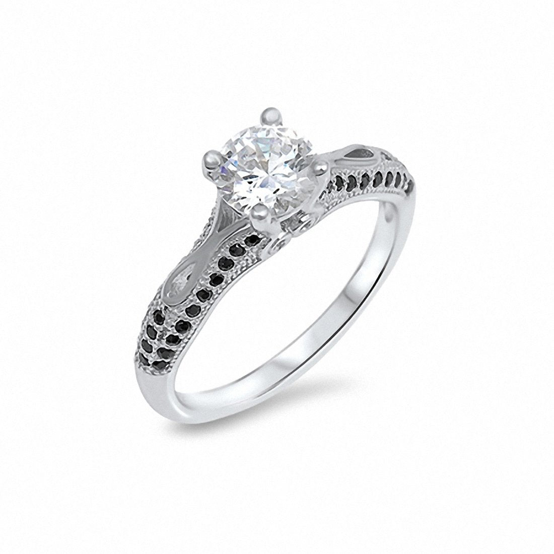 Solitaire Accent Engagement Ring Black White Cubic Zirconia 925 Sterling Silver Choose Color