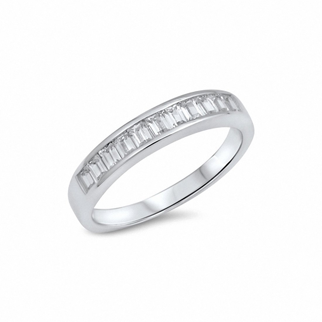 Precious Metal Without Stones Jewelry & Watches Cheap Price Sterling Silver Half Eternity Baguette And Round Cubic Zirconias Ring