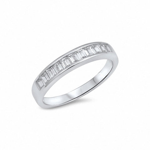 Half Eternity Baguette Cubic Zirconia Band Ring 925 Sterling Silver Choose Color