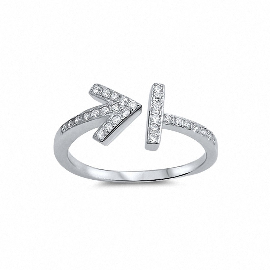 Bar Arrow Ring Round Cubic Zirconia 925 Sterling Silver Choose Color
