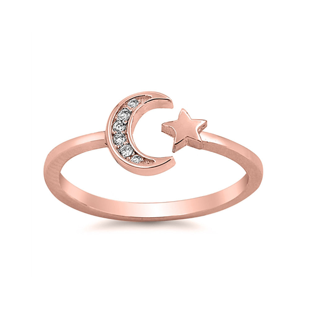 Moon Star Ring Round Cubic Zirconia 925 Sterling Silver Choose Color - Blue Apple Jewelry