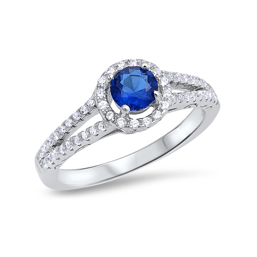 Round Simulated Blue Sapphire CZ Accent 925 Sterling Silver Open Shank Wedding Engagement Ring - Blue Apple Jewelry