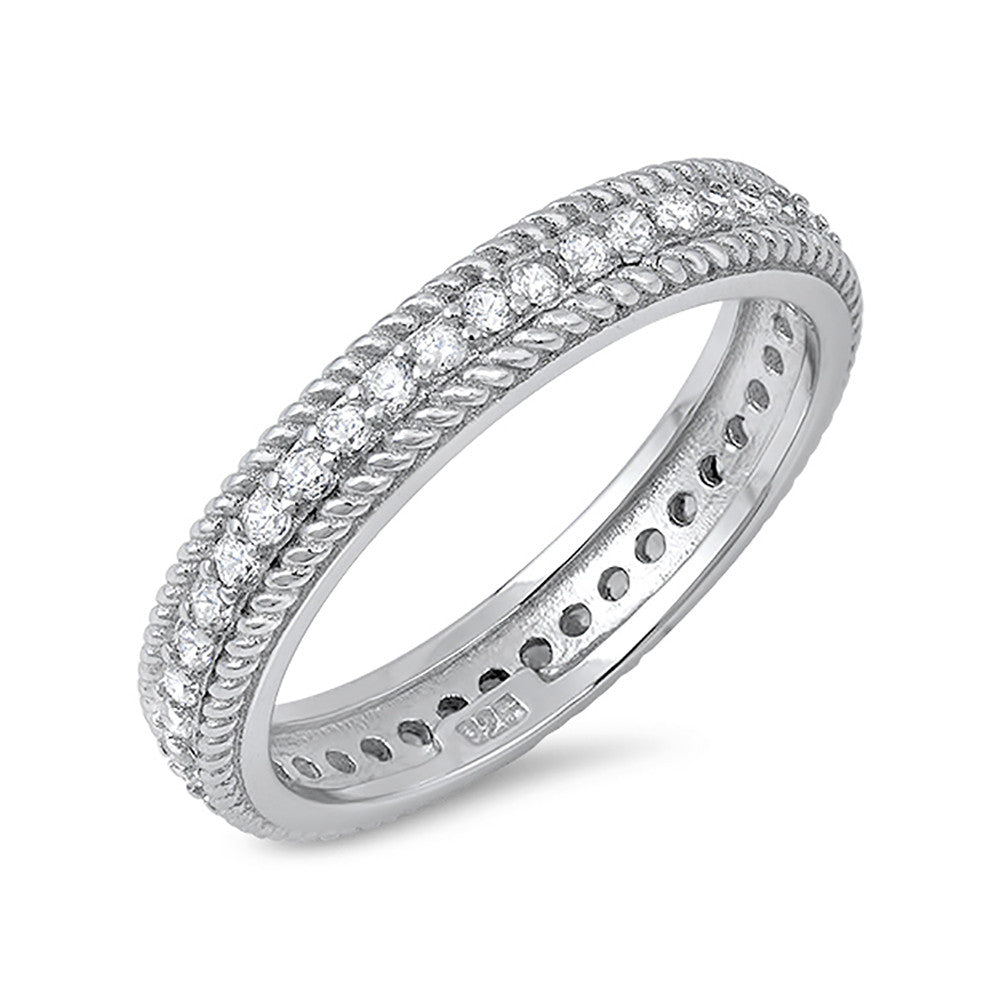 Rope Design Full Eternity Wedding Band Round Cubic Zirconia 925 Sterling Silver - Blue Apple Jewelry