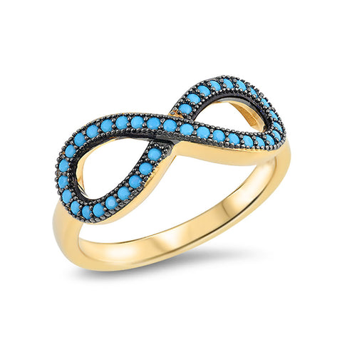 Infinity Promise Ring Round Faceted Simulated Nano Turqouise Yellow Gold Tone 925 Sterling Silver - Blue Apple Jewelry