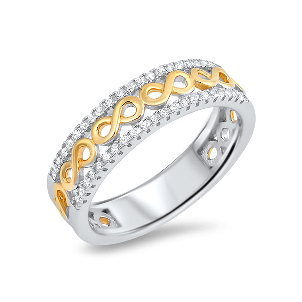 6mm Infinity Wedding Band Yellow Gold Tone Round Cubic Zirconia 925 Sterling Silver - Blue Apple Jewelry